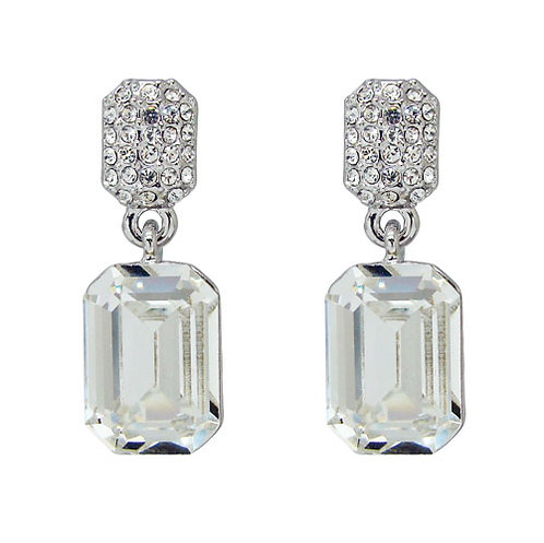 Emerald Cut Crystal Earrings