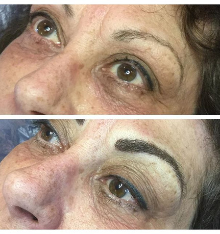 Microblading before and after on the eye