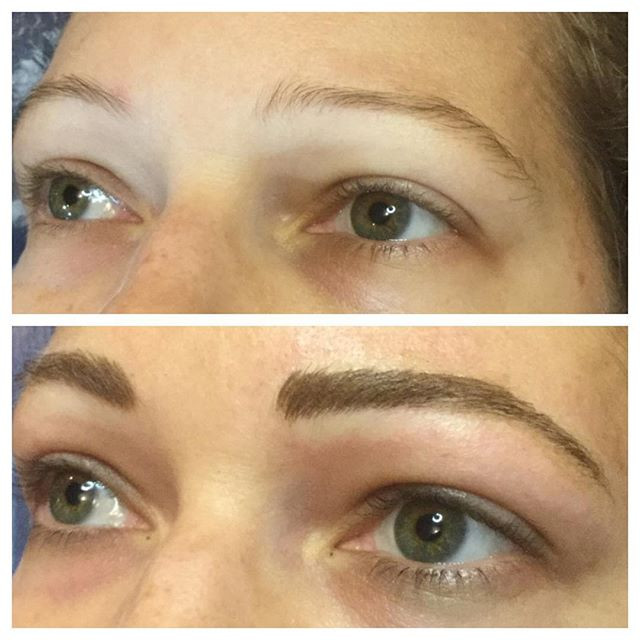 Before and after eyebrow microblading #e