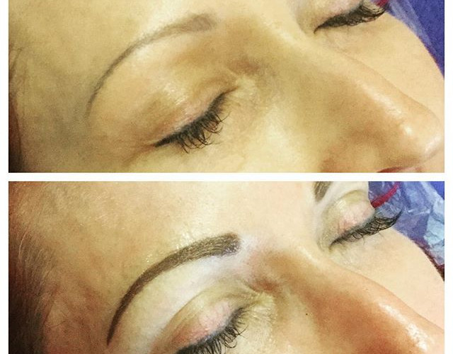 Before and after permanent makeup eyebro