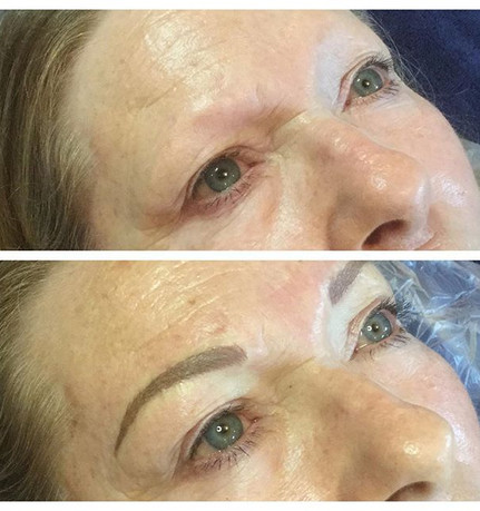 Before and after photo of microblading e