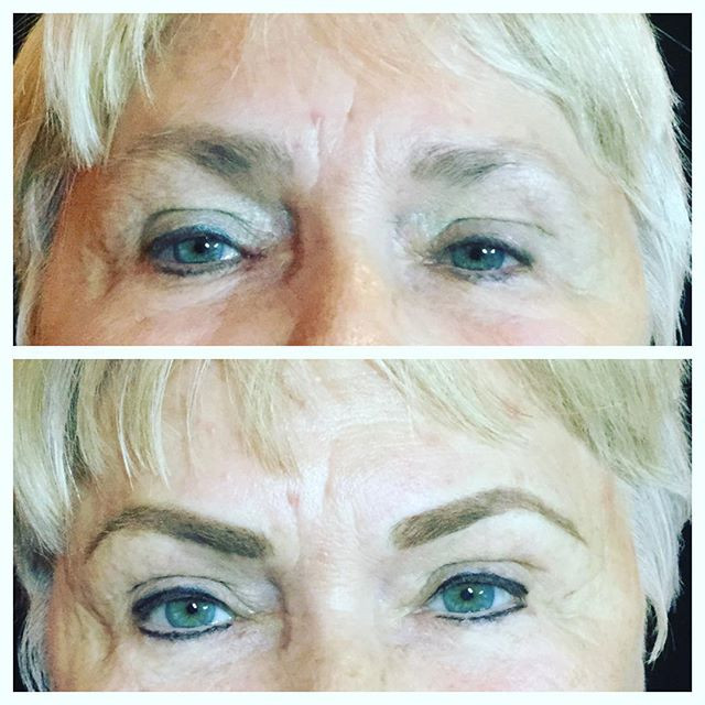 Before and after permanent makeup on bot