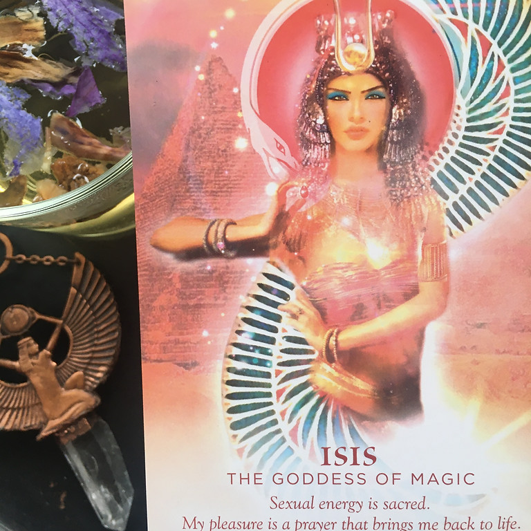 Plant Spirit Circle with Blue Lotus, Isis and the New Moon