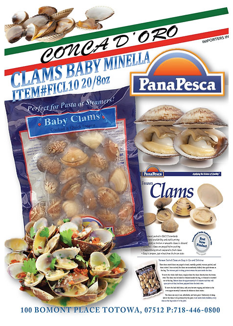 Frozen Clams Baby Minella 10/1 lb