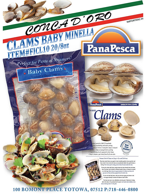 Frozen Clams Baby Minella 10/1 lb