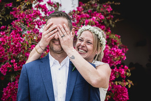 bride covering grooms eyes . first look before wedding ceremony