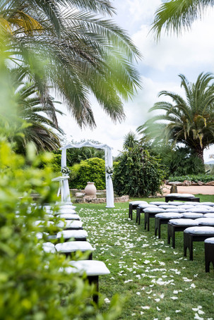 beautiful greenery ibiza wedding venue can gall ceremony area. while altar and bench set up