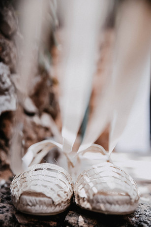 Typical Ibicencan  bridal shoes with ribbons