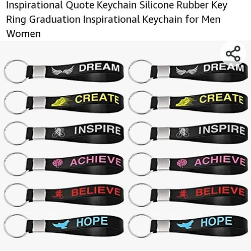 10 pack of 6 Inspirational Quote Keychains