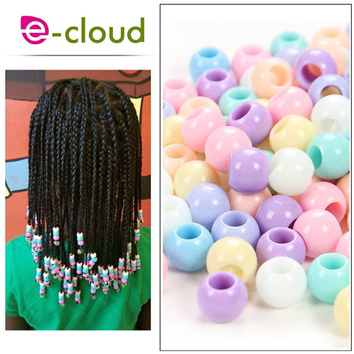 50 Pieces Pastel Hair Beads