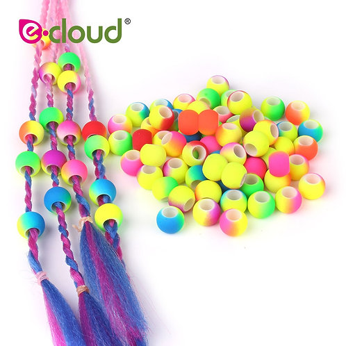 50pcs 5mm Hole Double Color Gradual Change Acrylic  Round Hair Beads