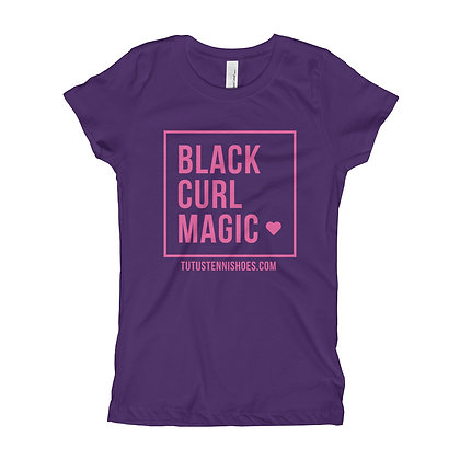 Black CURL Magic Slim Fit Girl's T-Shirt