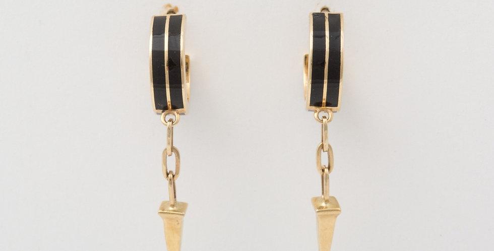 10 mm Gold Hoops with Black Enamel