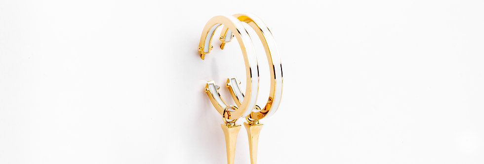 25 mm Gold Hoops with Enamel