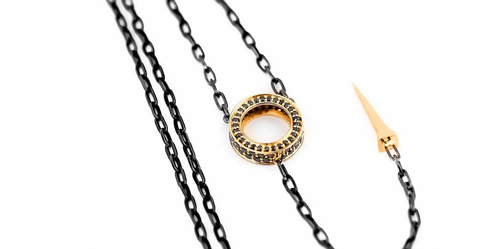 Black Rhodium Silver Eternity Necklace with Black Diamonds