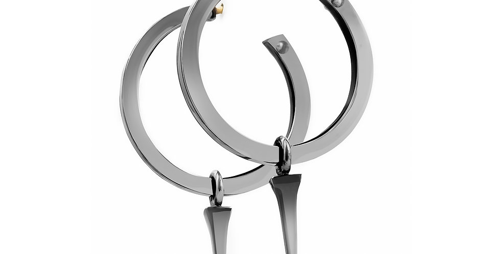 25 mm Black Rhodium Silver Hoops