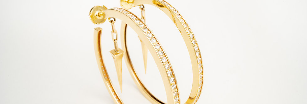 45 mm Gold Hoops with Diamonds