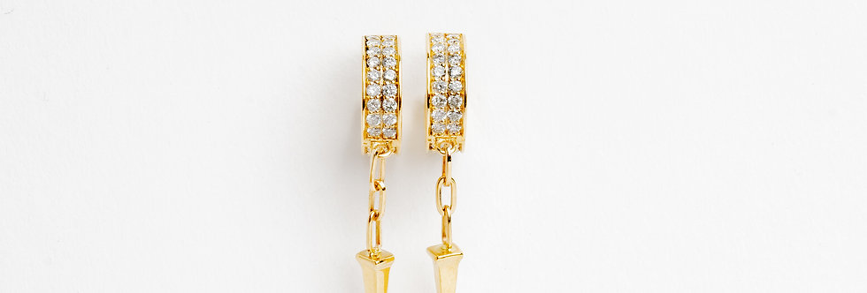 10 mm Gold Hoops with Diamonds