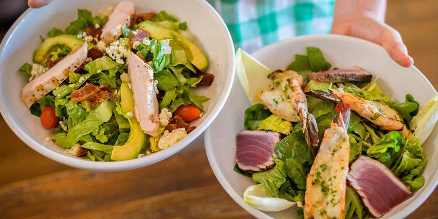 Jane's Salad Bowls: Seared Ahi Tuna & Broiled Prawn Salad