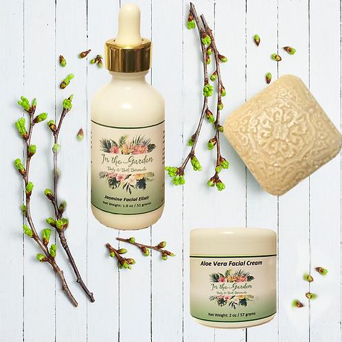Jasmine Goat's Milk Soap, Aloe Vera Facial Cream & Jasmine Facial Elixir 3 Set