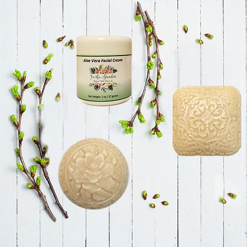 Jasmine Goat's Milk Soap (2) & Aloe Vera Facial Cream - Set of 3