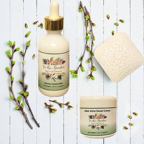 Jasmine Coconut Milk Soap, Aloe Vera Facial Cream & Jasmine Facial Elixir 3 Set