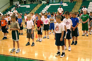 kids working out during basketball camp