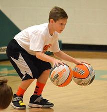 Boy training with balls