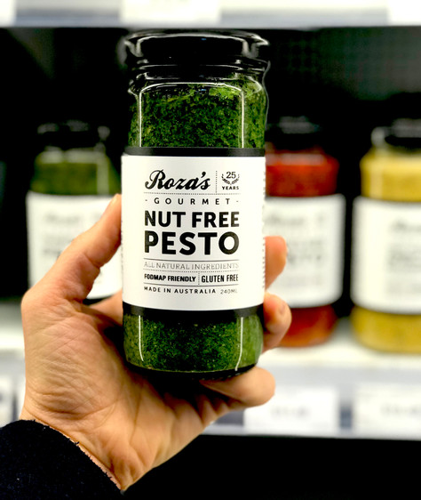 "Low FODMAP new launch:  ""Roza's Gourmet"" Nut Free Pesto"