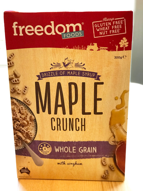 """Low FODMAP New Launch: """"Freedom Foods"""" Maple Crunch cereal"""