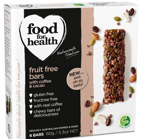 "Low FODMAP new launch: Food for Health ""Coffee & Cacao Fruit Free Bars"""