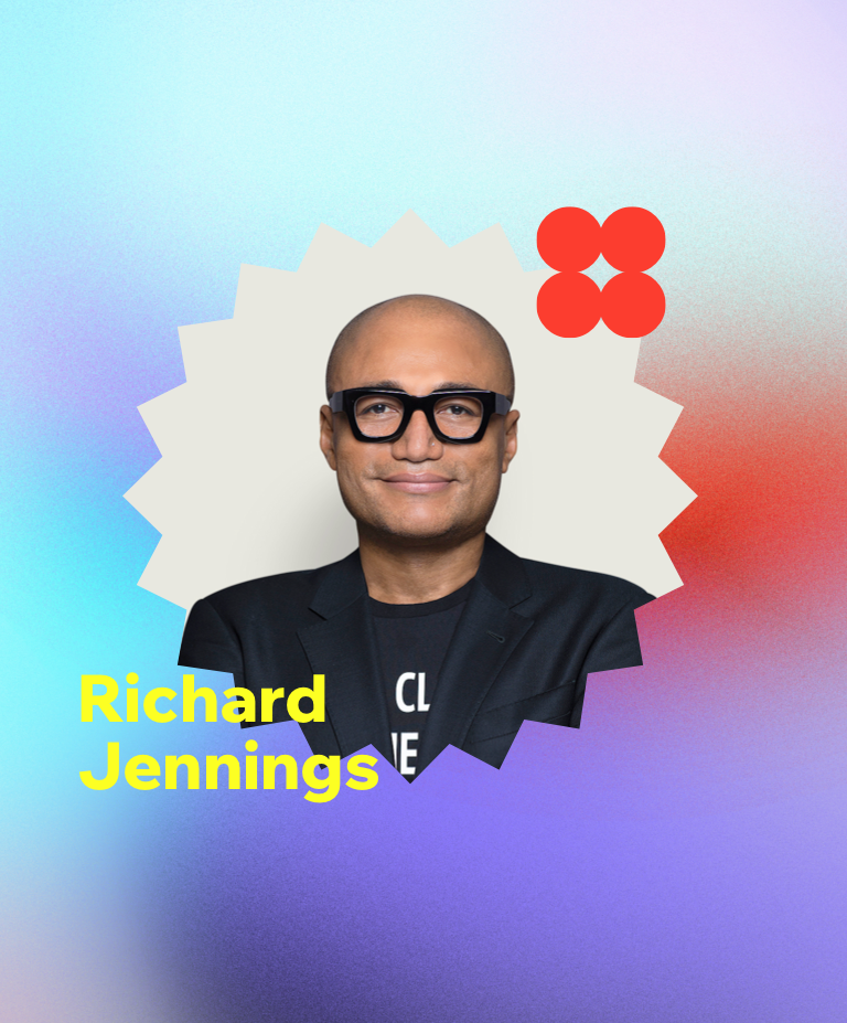 A headshot of Richard Jennings, SVP of design and production at Warner Media, against a gradient background.