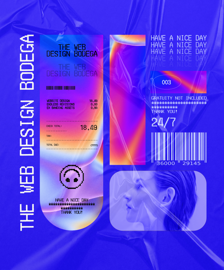 """Illustration with various receipts treated with a dark blue gradient that reads """"The Web Design Bodega""""."""