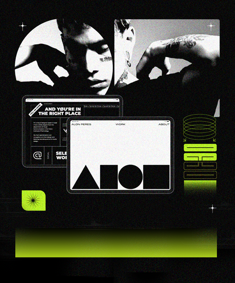 A collage of black and white website homepages and a black and white photo of a man with tattoos.