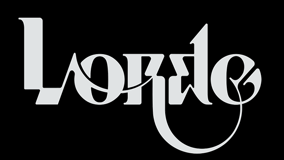 """Light gray handlettering on a black background that reads """"Lorde"""", by designer Gustavo Eandi."""