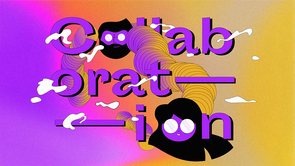 """A visual illustration of the word """"collaboration"""" in purple on a purple, orange, and yellow gradient background."""