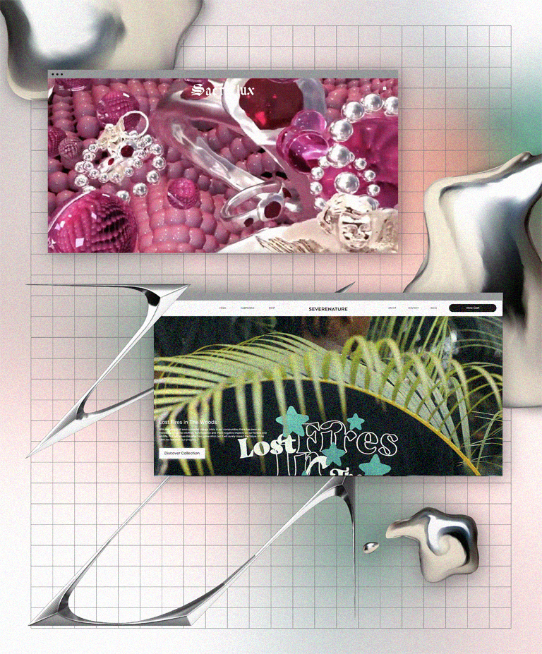 Screenshots of two websites, Sacreflux and Severe Nature, from a round up of the best fashion websites online on a pink and gray gradient background.