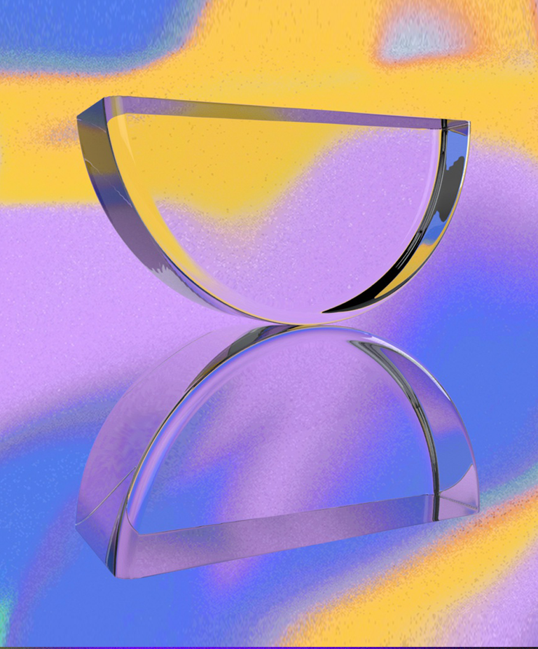 An image of two clear half circles touching at their apex over a gradient background.