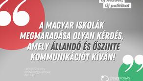 Magyar iskolák megmaradása olyan kérdés amely állandó és őszinte kommunikációt kíván