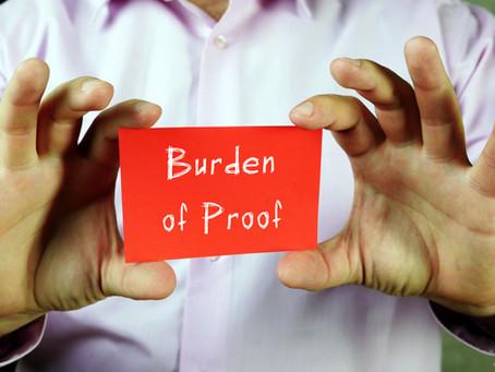 CROSSING TO CLOSE: Burden Of Proof