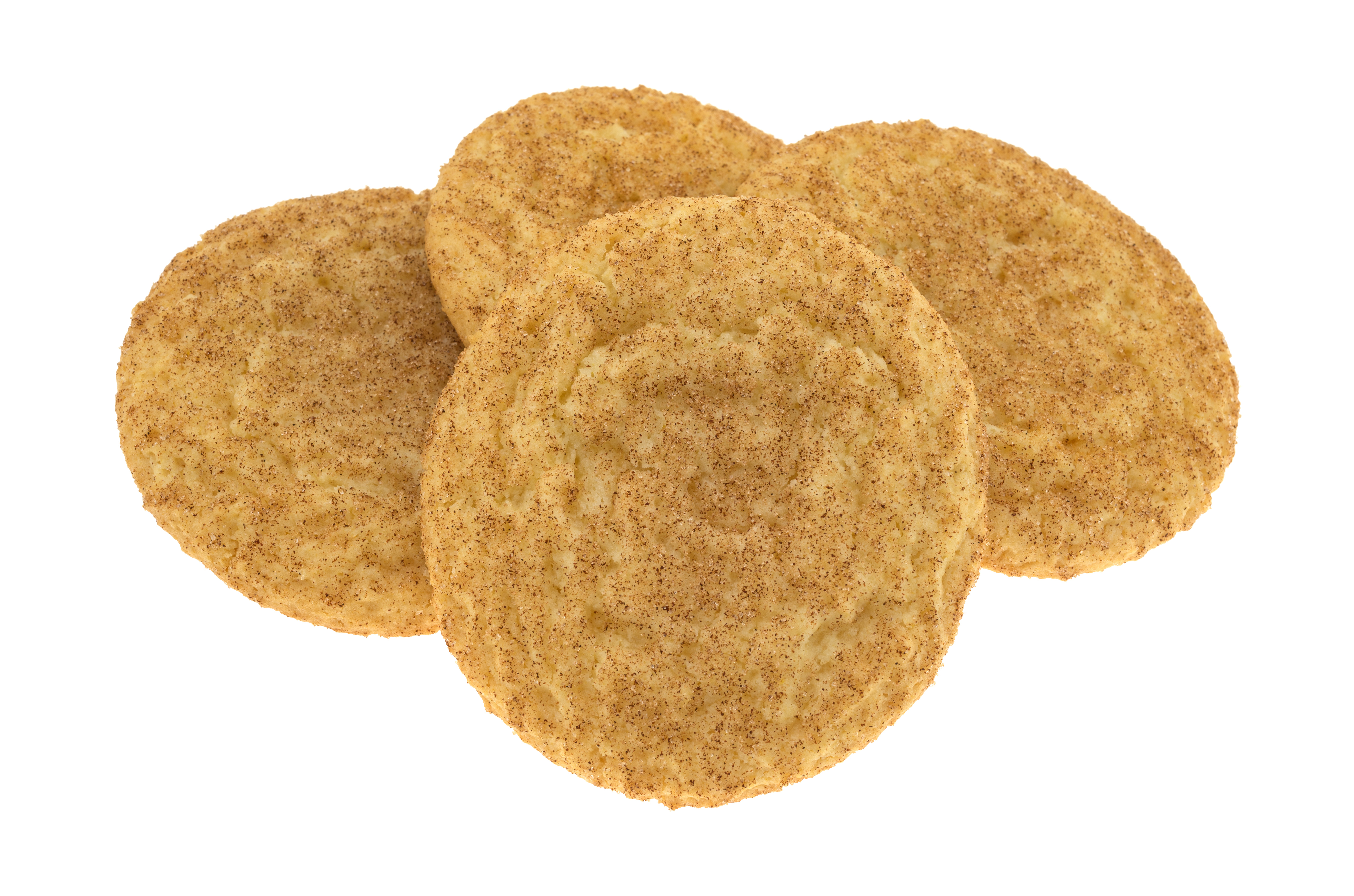 Side view of a group of baked snickerdoo