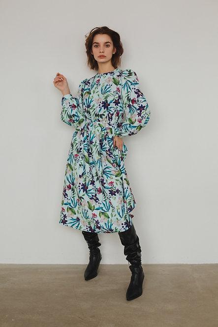 Платье с карманами с цветочным принтом