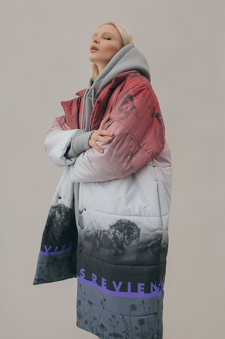 Пальто с принтом на тему Японии