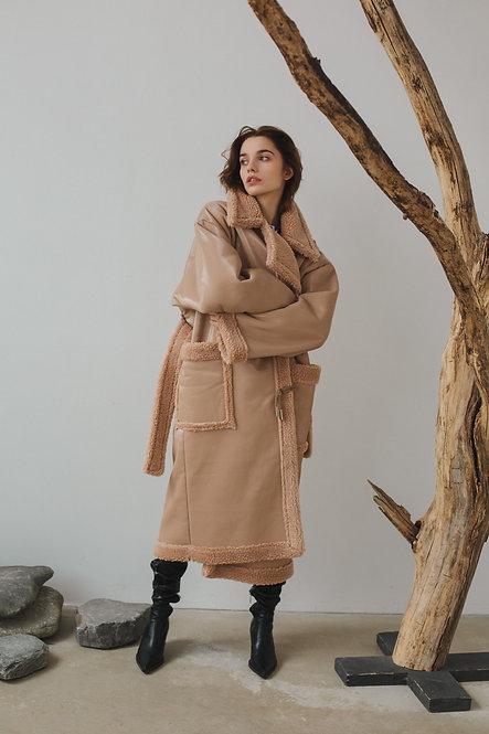 Пальто OVERSIZE из искусственной дублёнки