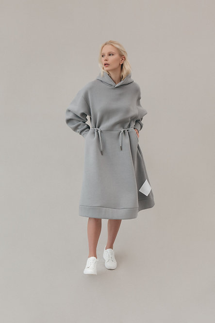 Платье худи на кулиске с карманами TAUPE GREY