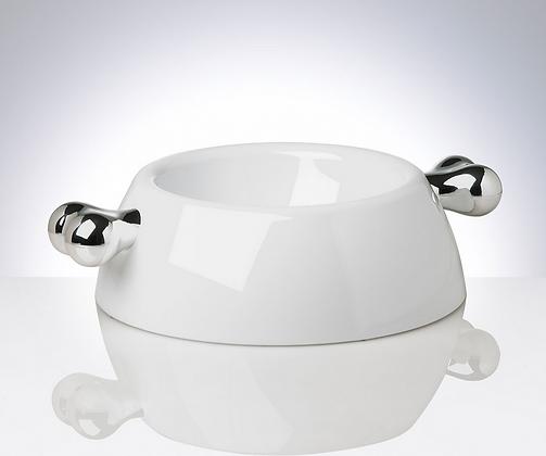 Futternapf Atrium - weiß / silber
