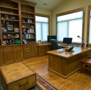 Office with custom desk