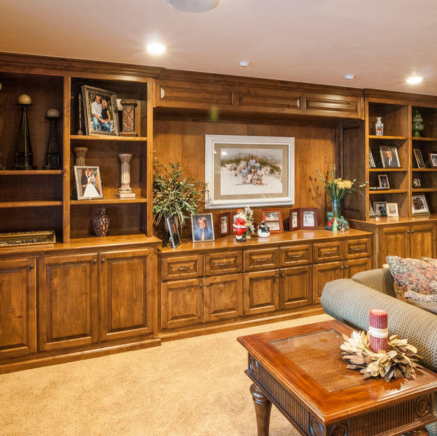 Bookcase and dispaly in alder
