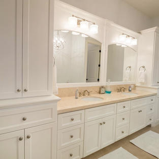 Double sink vanity with large linens.
