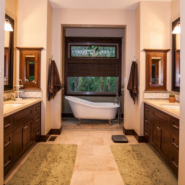 Gorgeous vanities with in-wall medicine cabinets.